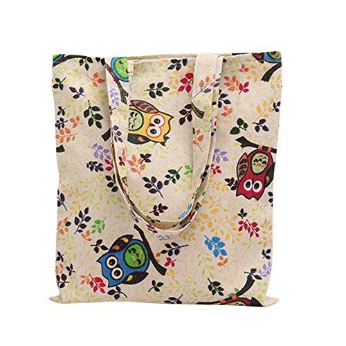 (Caixia Women's Cotton Colorful Owl Print Canvas Tote Shopping Bag)