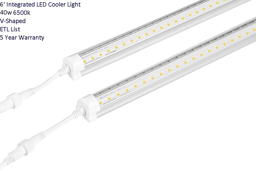 LED Integrated Single Fixture, 6FT, 40W, Clear Cover 6500K (Bright White), Utility Shop Light, Ceiling and Under Cabinet Light, Cooler Door Lighting Fixture, Pack of 30