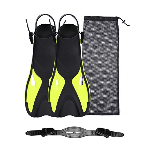 Diving Snorkel Short Fins with mesh bag and Extra Fin Straps for Travel Snorkeling Swimming, Open Heel Flippers for Men Women (Yellow, ()