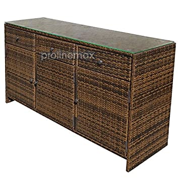 Captivating ESPRESSO 3 Drawers Wicker Rattan Buffet Serving Cabinet Table Towel Dining  Dish China Storage Counter Outdoor