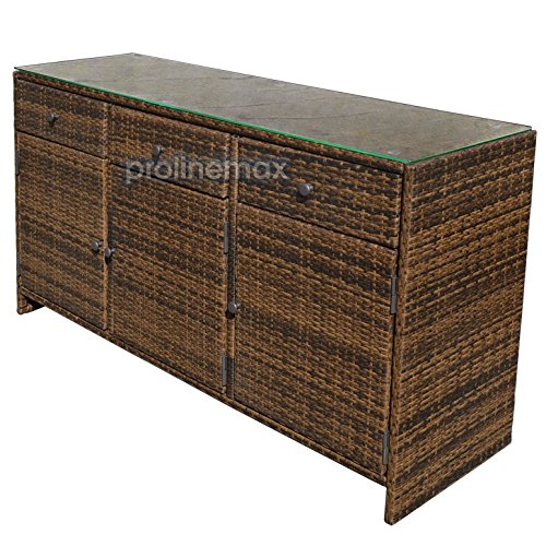 Outdoor Wicker Cabinet: ESPRESSO 3 Drawers Wicker Rattan Buffet Serving Cabinet