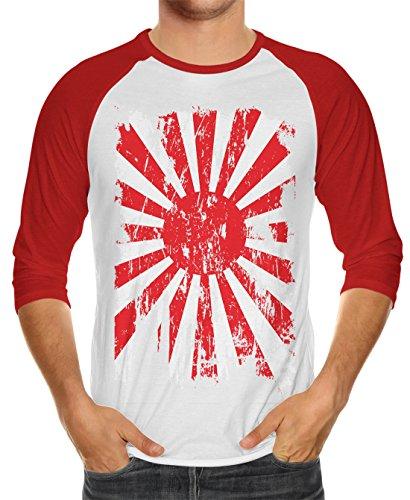 - SpiritForged Apparel Distressed Japan Rising Sun Flag Unisex 3/4 Raglan Shirt, Red/White 3XL
