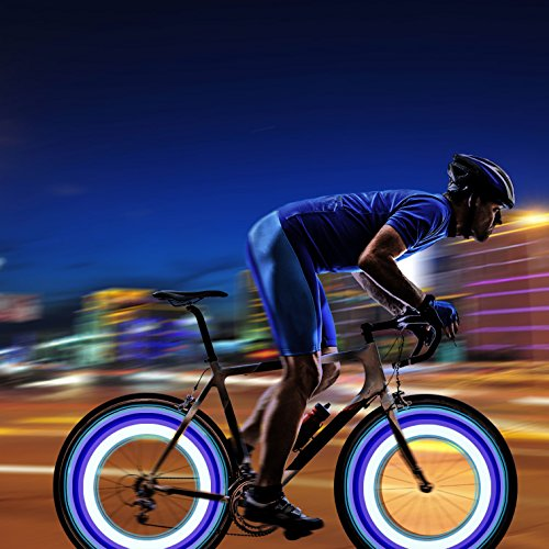 Oumers 4pcs Bike Spoke Light, Waterproof Bike Wheel Rim Light Cycling Tire Valve Spoke Light with 3 LED Flash Modes Neon Lamps Used for Safe and Warning (Colorful) by Oumers (Image #8)