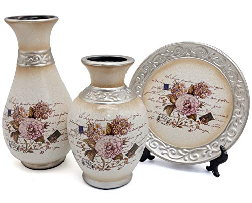 - NEWQZ Classical Ceramic Vases Set for Home Decor with 2 Vases and 1 Plate - European Style