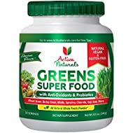 Activa Naturals Greens Superfood Powder Supplement with Organic Leafy Raw Green Veggies & Energy Super Fruits, Vegan Wheatgrass, Natural Spirulina, Alkalizing Whole Foods, Vital Enzymes and Probiotics