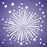 "FIREWORKS STENCIL (size 9""w x 9""h) Reusable Stencils for Painting - Best Quality Scrapbooking Wall Art Décor Ideas - Use on Walls, Floors, Fabrics, Glass, Wood, Posters, and More…"
