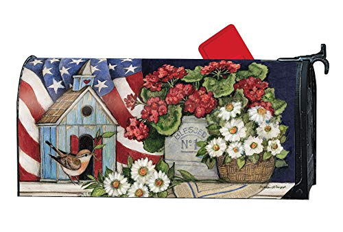 MailWraps Studio M Patriotic Birdhouse Decorative Spring Summer Floral, The Original Magnetic Mailbox Cover, Made in USA, Superior Weather Durability, Standard Size fits 6.5W x 19L Inch -