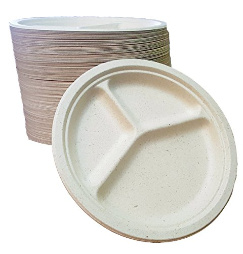 "100% compostable and biodegradable, 10"" - 3 COMPARTMENT DISPOSABLE PLATES - (125 COUNT), made from bamboo & sugar cane , excellent strength"