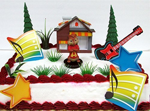 ALVIN AND THE CHIPMUNKS 14 Piece Birthday Cake Topper Set Featuring Alvin Seville and Themed Decorative Accessories - Figure Averages 3