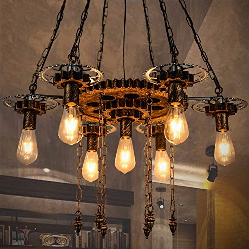 ZYLE-Chandelier Retro Chandelier 7 Bulbs Loft Industrial Gear Adjustable Hanging Chain E27 Ceiling Pendant Lighting for Bar Restaurant Living Room ()