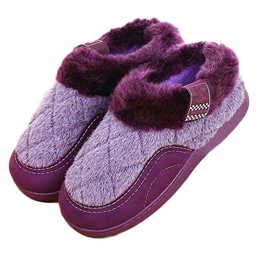 Cybling Pluizig Katoen Slipper Indoor Outdoor Warm Bont Voering Schoenen Super Zacht Anti-slip Paars