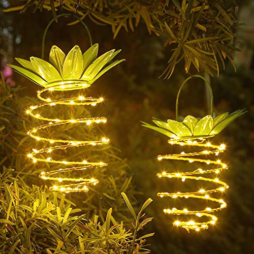 JSOT Hanging Solar Lights 60 LED Outdoor Landscape Decorative Copper Wire Pineapple Fairy Lights Waterproof Solar Lantern Lamp for Garden Yard Patio Lawn Balcony
