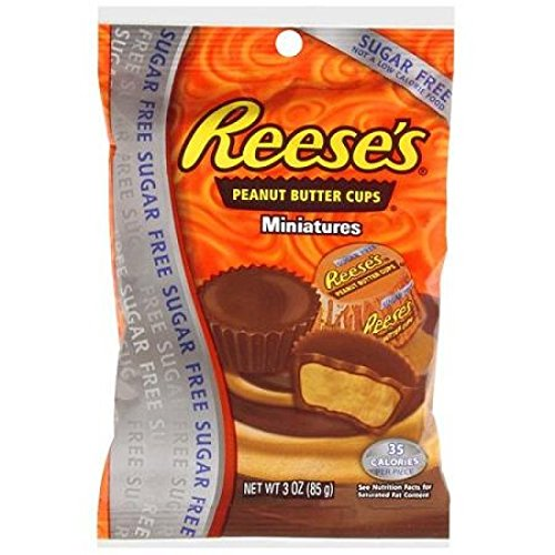 Sugar Free Mini Reeses Peanut Butter Cups 3 Ounce Theater Size Pack 1 Bag