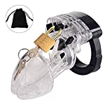 Male Briefs Comfortable Device, Plastic Cage Design Chastit_y, Lightweight Premium Medical Pouch Device (Transparent)