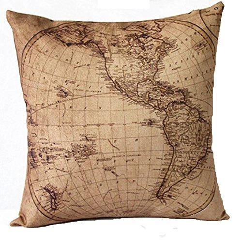 Vanki 2pcs retro ocean serial Cotton Linen Square Decorative Throw Pillow Case Cushion Cover 18 x 18 inches ,half of globe pattern