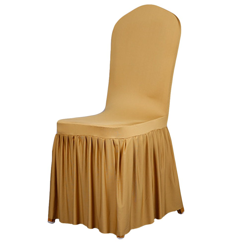 dds5391 Pleated Stretch Full Dining Chair Cover Hotel Restaurant Wedding Decor