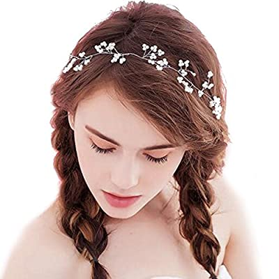 Missgrace Bridal Vintage Silver Hair Vine Wedding Crystal Headband Hair Accessories-Women and Girls Hair Accessory for Special Occasions