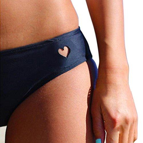 M-Queen Mujer Bikini-Shorts Bañador Bermudas Traje de Baño Pantalón Corto Ropa Interior Beachwear Swimsuit Swimwear negro