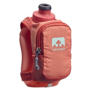 Nathan NS4859 Speedshot Plus Quick Grip 12 oz Running Water Bottle Flask with Zip Pocket, Fusion Coral