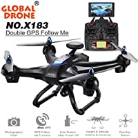 UHUB269W5, Global Drone X183 5.8GHz 6-Axis Gyro WiFi FPV 1080P Camera Dual-GPS Follow Me Brushless Quadcopter Black