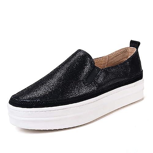 Mocasines de Las Mujeres de Primavera Slip-on Casual Plataforma Zapatos Planos Mujer Zapatillas Gruesas Suela Creepers: Amazon.es: Zapatos y complementos