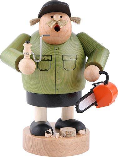 KWO Lumberjack Worker with Chainsaw German Wood Christmas Incense Smoker by KWO (Image #1)