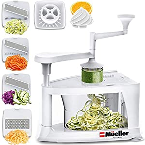 Mueller Spiral-Ultra Multi-Blade Spiralizer, 8 into 1 Spiral Slicer, Heavy Duty Salad Utensil, Vegetable Pasta Maker and…