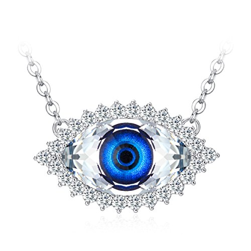 Swarovski Evil Eye Protection - TOJEAN Gifts for Mom 'Evil Eye' Women Necklace Blue Eye Pendant Made with Swarovski Crystal, Jewelry for Women, Anniversary Gifts for Lover (Evil Eye)