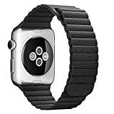 Apple Watch Band 42mm, Betteck Leather Loop with Adjustable Magnet Lock iWatch Band Replacement Bracelet Strap for Apple Watch 42mm All Models No Buckle Needed (Black)