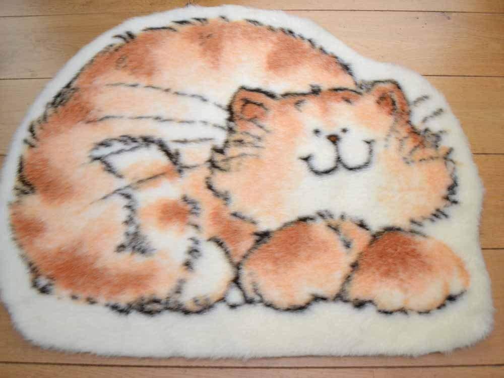 Marmalade Cat Non Slip Machine Washable Sheepskin Style Kids Rug. Size 70cm x 92cm Rugs Supermarket