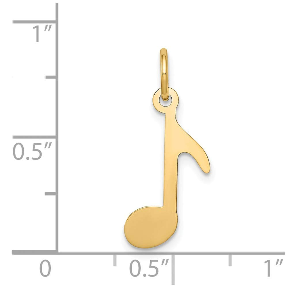 Jewel Tie 14k Yellow Gold Polished Musical Note Pendant Charm 10mm x 21mm