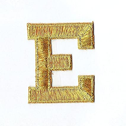 Amazon alphabet letter e color gold 2 block style iron alphabet letter e color gold 2quot block style iron on embroidered altavistaventures Images