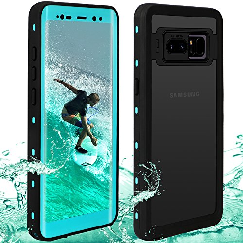 Waterproof Note 8 Case | Touchable Heavy Duty Protection Cellphone Cover | Underwater Full Body Shock-Proof Dirt-Proof Soft Cases Samsung Galaxy Note8 (6.3) (Black/Green)