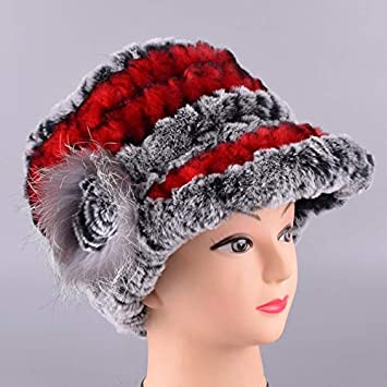 964cbaaa215 HOKUGA Rabbit Fur Cap Hats for Women Winter Floral Real Rex Fur Hat Elastic  Beanies Warm