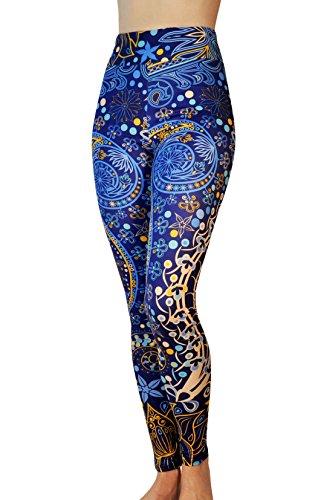 (Comfy Yoga Pants - Tailored Yoga Waistband - Dry Fit - Printed High Rise Yoga Leggings (Deep Sea/Yoga)