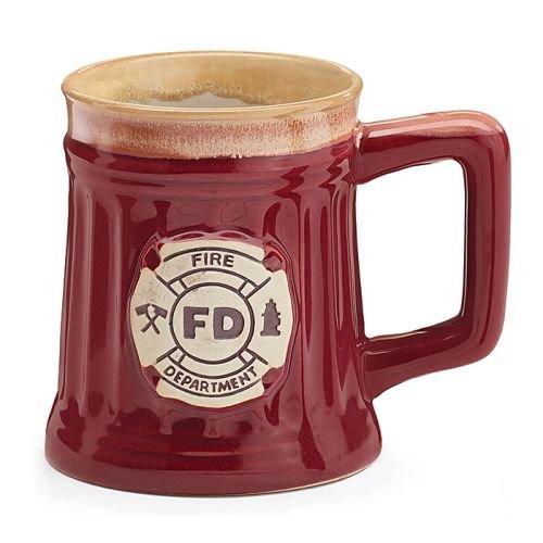 Fireman 15 Oz Porcelain Coffee Mug/Cup Burgundy Stein Shape with Fire Department (Department Mug)