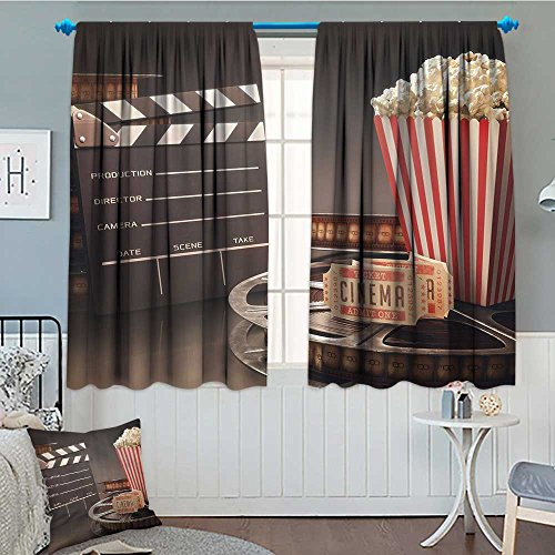 Movie Theater Home Decoration Thermal Insulated Old Fashion Entertainment Objects Related to Cinema Film Reel Motion Picture Blackout Draperies for Bedroom 72