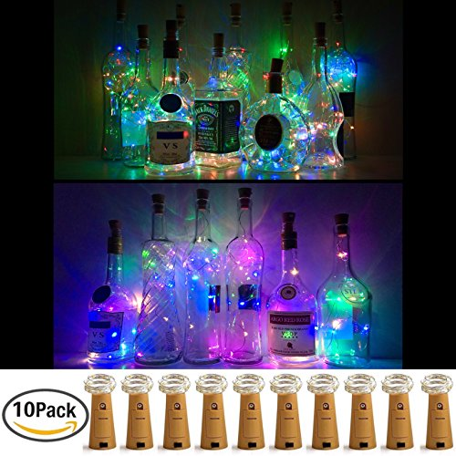 Wine Bottle Lights with Cork, LoveNite 10 Pack Battery Operated LED Cork Shape Silver Copper Wire Colorful Fairy Mini String Lights for DIY Party, Decor, Christmas, Halloween,Wedding (4 Colors (Mini Solar Lights)