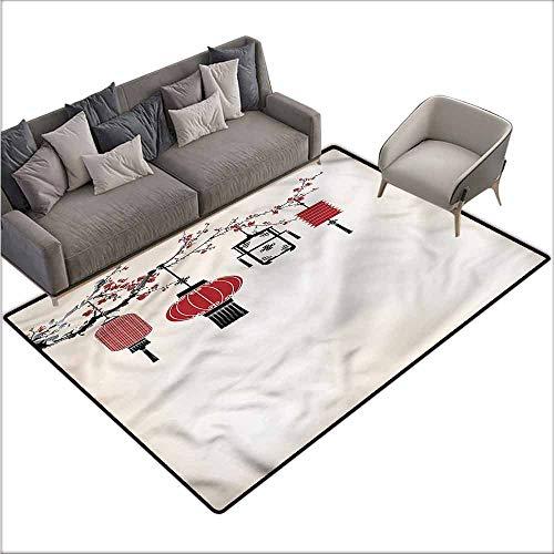 - Carpet for Living Room Lantern,Tender Spring Flowers Bloom 60