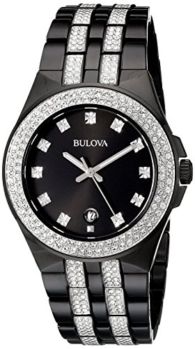 Bulova Mens 98B251XG Swarovski Crystal Accents Black Bracelet Dress 42mm Watch (Renewed) ()