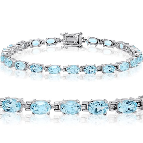 10ct tw Sky Blue Topaz Tennis Bracelet in Sterling Silver 7 1/4 inch