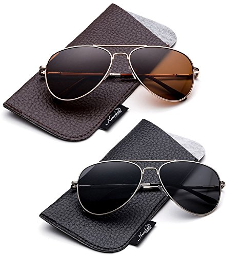 Newbee Fashion-Polarized Kids Teens Juniors Aviator Polarized Sunglasses Stainless Steel Frame Spring Hinge Kids Polarized Sunglasses for Girls & Boys UV Protection with Carrying Pouch -