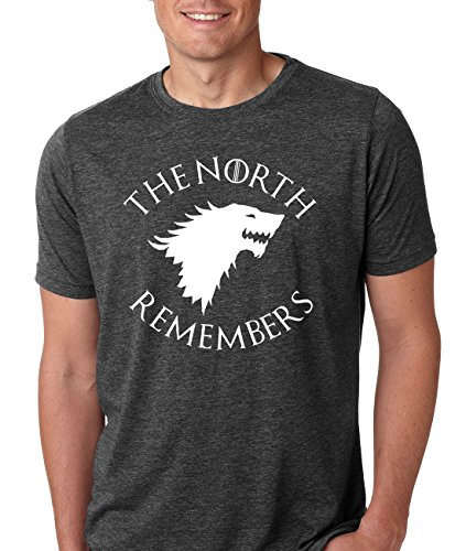 "Game of Thrones ""The North Remembers"" Athletic Fit Mens T-Shirt (X-Large, Dark Heather Gray)"