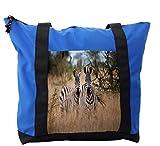 Lunarable Africa Shoulder Bag, Kenyan Zebras in High Bushes, Durable with Zipper