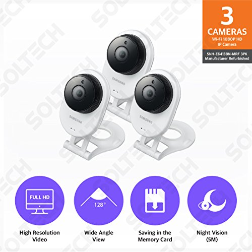 3 Pack SNH-E6413BMR - Samsung HD WiFi IP Camera with 16GB mi