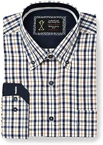 Camisa Manga Larga, con Estampado de Cuadros de Color Azul ...
