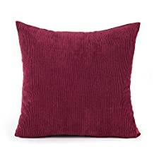 baibu Corduroy Decor Solid Pillow Cover (7 Colors and 8 Sizes) Multi Size Cushion Cover for Sofa Burgundy 20x20