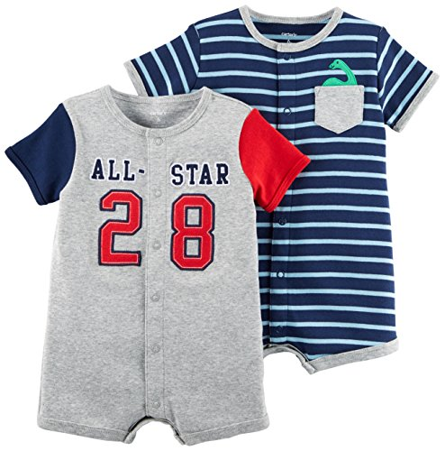 Carter's Baby Boys' 2-Pack Snap up Romper, Allstar/Blue Stripe, 3 Months
