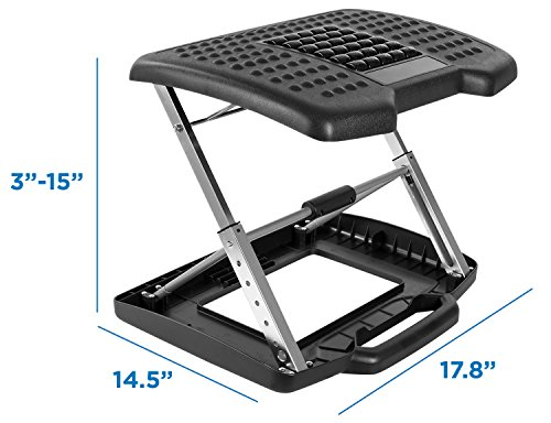 Mount-It! Adjustable Footrest with Massaging Beads Adjustable Height and Angle Office Foot Rest Stool for Under Desk Support, 3-Level Height Adjustment, Black by Mount-It! (Image #5)