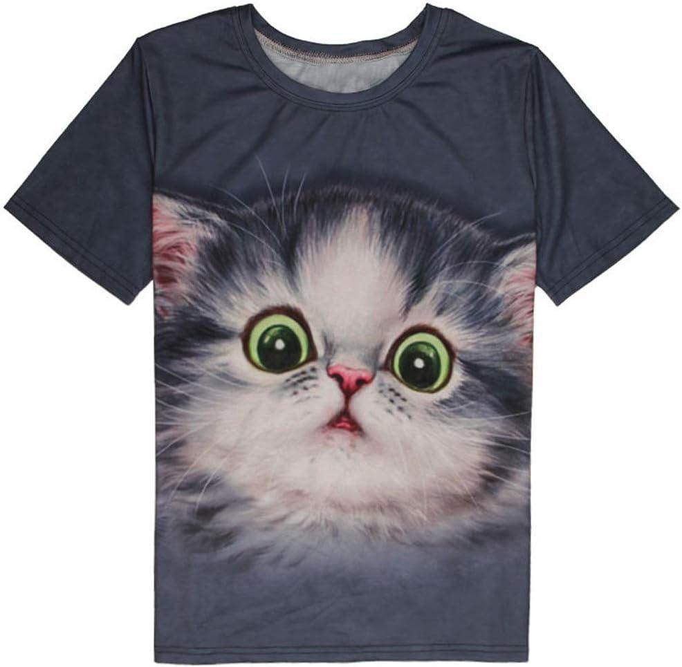 プラスサイズ グラフィック Tシャツ レディース 半袖 Tシャツ 3D 猫プリント ゆったりトップス カジュアル オーバーサイズ ブラウス ポキオル ダークグレー XXX-Large